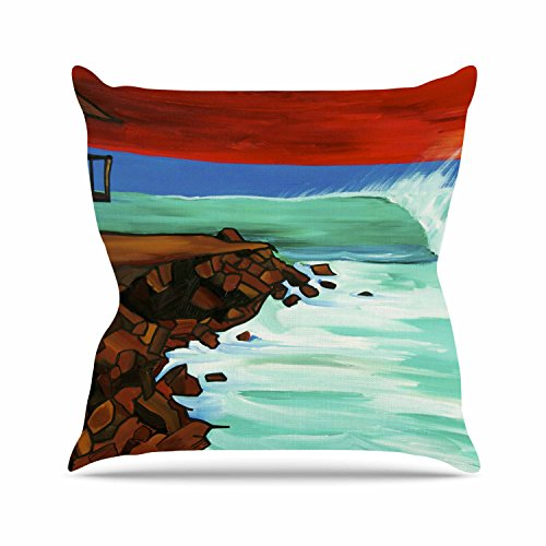 Kess InHouse Nathan Gibbs Art Rights Off Point Red Blue Outdoor Throw Pillow, 16