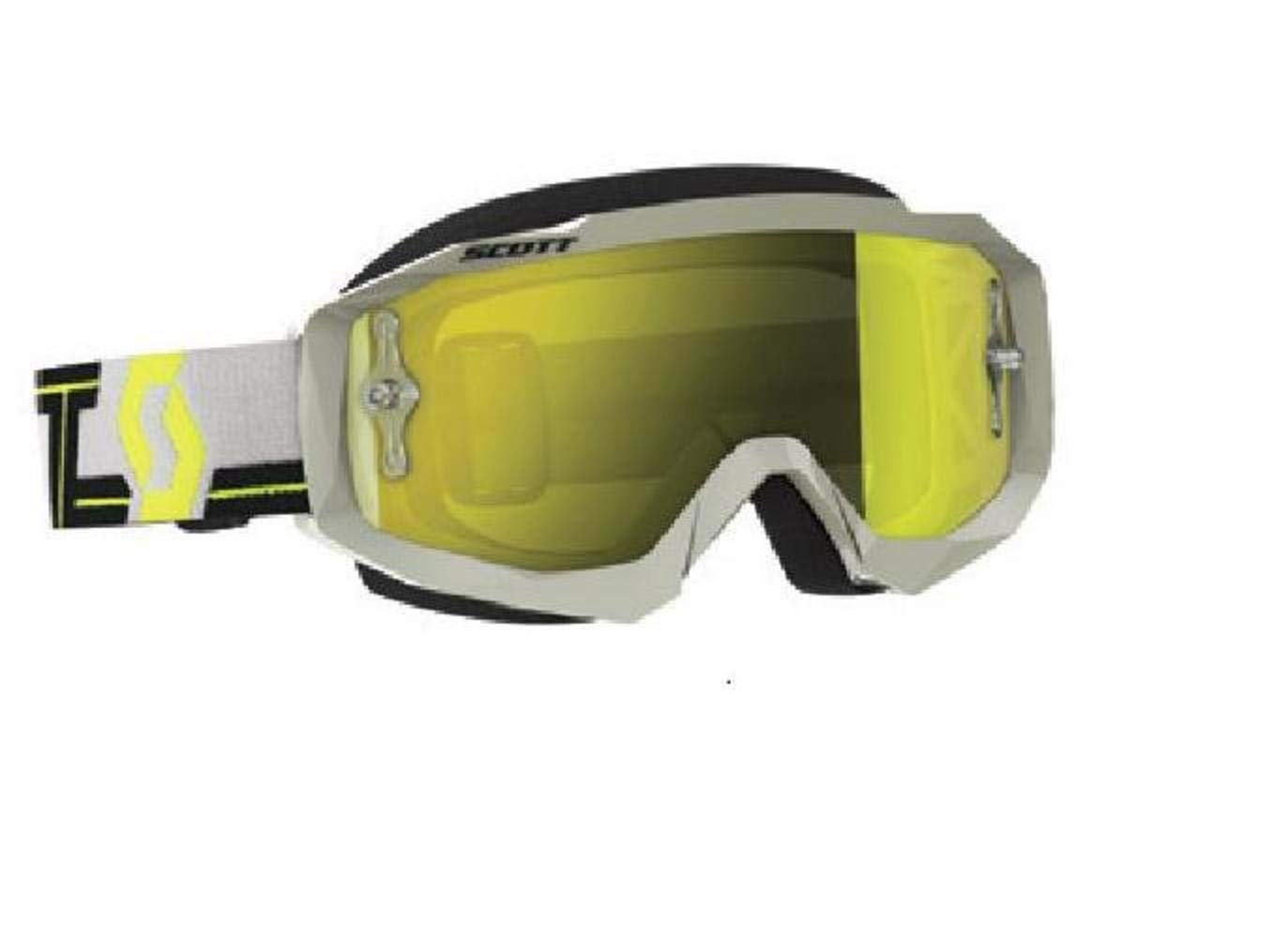 Scott Hustle MX Adult Off-Road Motorcycle Goggles - Grey/Yellow/Chrome/One Size