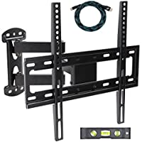 EASYGOING Full Motion Tilt Articulating Cantilever Swivel Single Arm LCD TV Wall Mount bracket for 20-55 Flat Screen Displays,VESA 400 x 400 Compatible 66Lbs Capacity With HDMI Cable