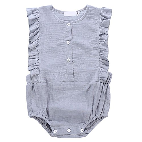 Weixinbuy Toddler Baby Girl's Round Collar Ruffled Sleeveless Romper Clothes Jumpsuit ()