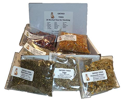 Sacred Tiger 20 Herbal Teas for Smoking Sampler Kit Shipped in a Nice Storage Box