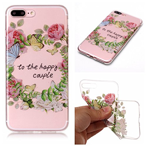 Coque Etui iPhone 8 Plus , Leiai to the happy couple Silicone Gel Case Avant et Arrière Intégral Full Protection Cover Transparent TPU Housse Anti-rayures pour Apple iPhone 8 Plus