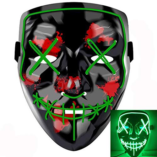 Scary Costumes With El Wire - Halloween Mask LED Light up Mask