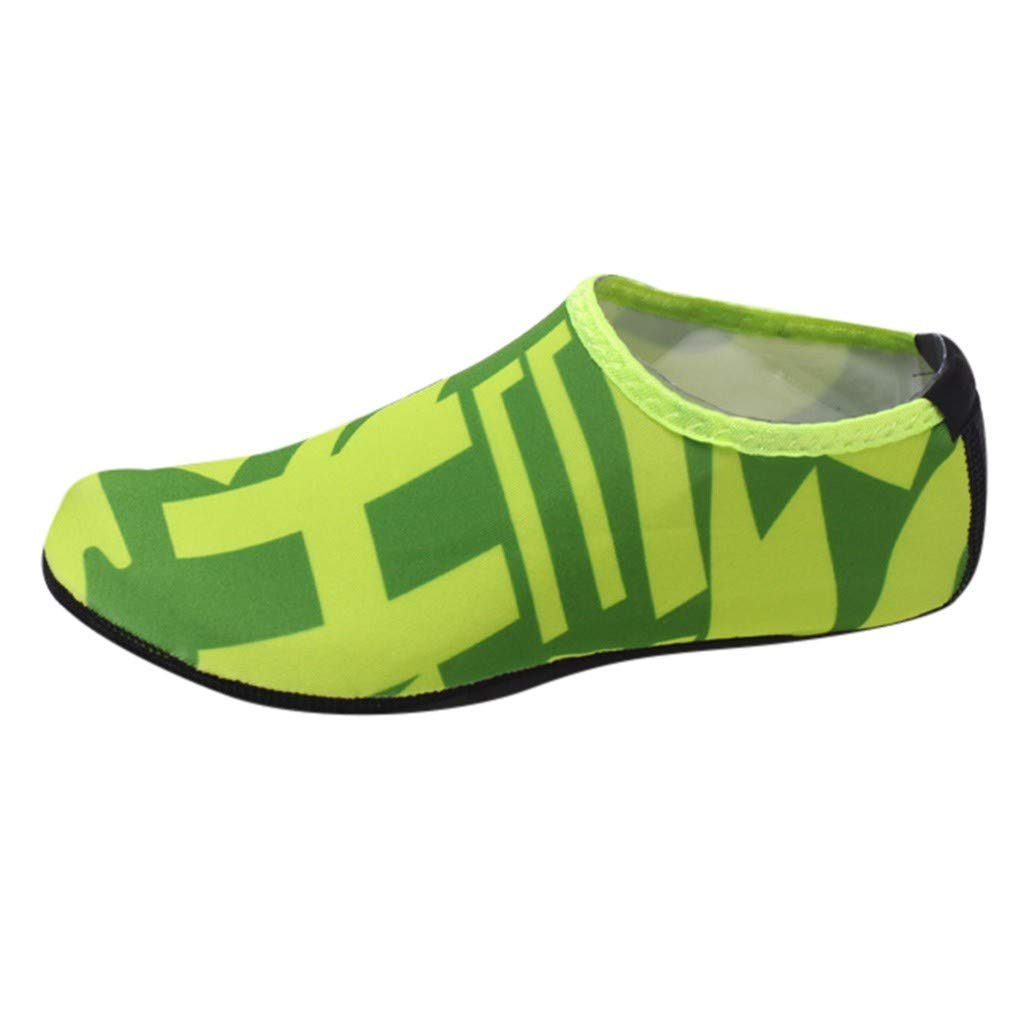 NUWFOR Beach Shoes Water Sports Unisex Water Shoes Barefoot Yoga Socks Diving Barefoot (Green, 6.5-7.5 M US Length:9.3'')