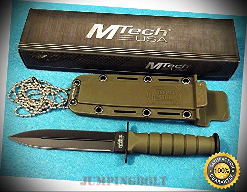MT632DGN Mini Combat Dagger Neck Knife OD Green fixed blade 6'' overall - Knife for Bushcraft EMT EDC Camping Hunting