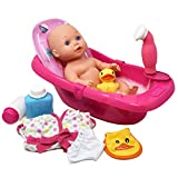 """Super Cute Baby Doll Bathtub Set Featuring 12"""" All Vinyl Doll, Bath Tub with Detachable Shower Spray, Washcloth, Toy Soap Bottle and Shower Gel, and Rubber Duck, The Best Doll Bath Toy Set for Kids"""