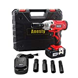 Anesty Impact Wrench, 240Nm High Torque Cordless Compact Wrench 18V 3000mAh Lithium-Ion Power Lug Nuts Impact Wrench 1/2 Inch Drive with 4 Socket and One 1/2'' Square Drive to 1/4'' Hex Adapter