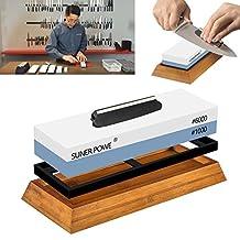 Premium Knife Sharpener Stone-2 Sides 1000/6000 Japanese Grit Whetstone-Knife Sharpening Stone Kit Included Non-slip Base, Dual Angle Support-For Kitchen & Sports Knives Sharpen And Polish