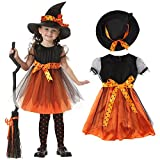 Valley Boutique adorable girls Halloween costume Witch dress and hat girl's dress party dress (8 years 9years)