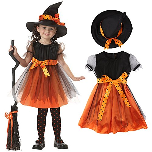Valley Boutique adorable girls Halloween costume Witch dress and hat girl's dress party dress (8 years 9years) (Adorable Children's Boutique)