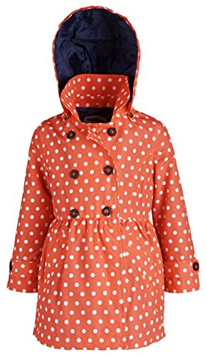 Osh Kosh Little Girls Double Breasted Hooded Dressy Waisted Spring Trenchcoat - Dot Print (Size 3T)