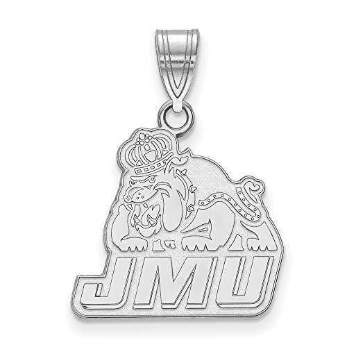 Jewelry Stores Network James Madison University JMU Dukes School Mascot Pendant in Sterling Silver M - (16 mm x 19 mm)