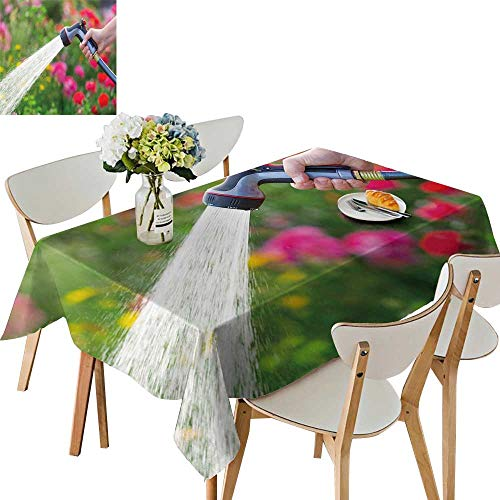 UHOO2018 Polyester Fabric Tablecloth Square/Rectangle Water Garden Flowers Summer & Outdoor Picnics,50 x 80inch - Water Garden Kent