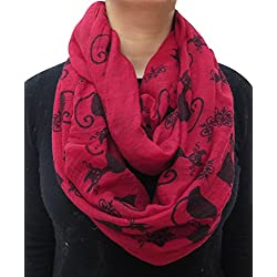 Lina & Lily Cat Kitten Print Women's Infinity Loop Scarf (Burgundy+Black)