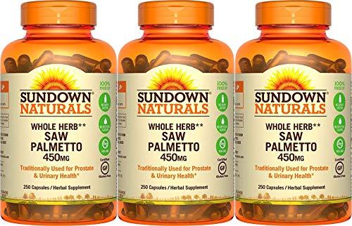 Sundown Naturals Saw Palmetto 450 mg, 250 Capsules (Pack of 3)
