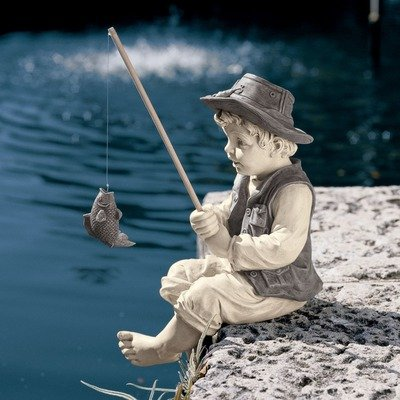 Design Toscano Frederic the Little Fisherman of Avignon Garden Statue Size - 9.5W x 6.5D x 15H in.