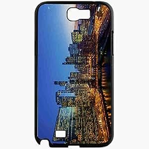 Unique Design Fashion Protective Back Cover For Samsung Galaxy Note 2 Case Illinois Chicago Skyscrapers Bridge Building Black