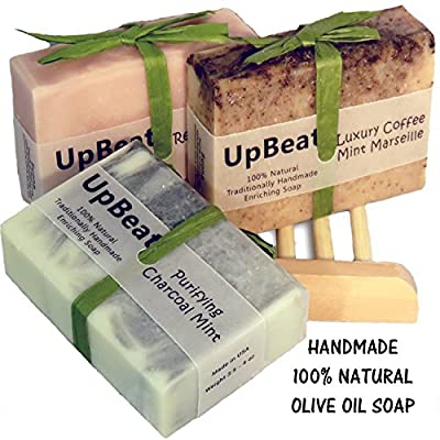 Olive Oil Soap-4pc Handmade Natural Gift Set-Coffee Exfoliating Soap,Cleansing Charcoal Soap,Rose Oil Moisturizing Soap & Wood Soap Dish.Top Gifts for Women,Men. Great Birthday Gift Set for Her, Him from Suona