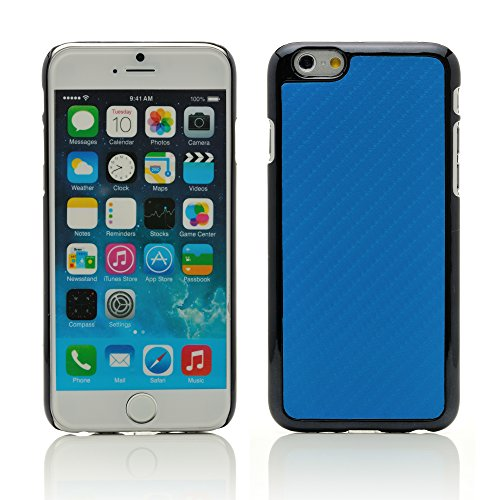 """iProtect housse de protection dur Hard Case en optique charbon Apple iPhone 6 (4,7"""") en noir + bleu"""