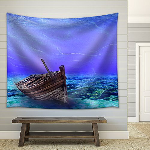 Underwater Wreck Background in the Sea Fabric Wall Tapestry