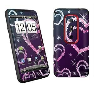 HTC EVO 3D Sprint Vinyl Protection Decal Skin Diamond Hearts