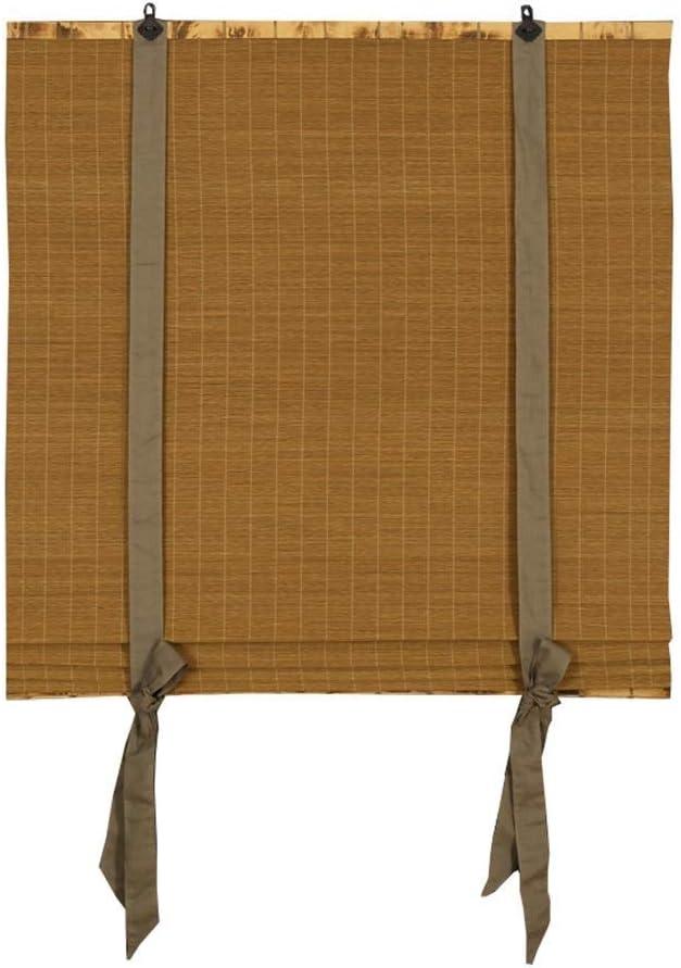 El rodillo de la cinta de satén de bambú persigue las cortinas, las persianas venecianas de color marrón oscuro y oscuras para la ventana y la puerta de la cocina del baño,