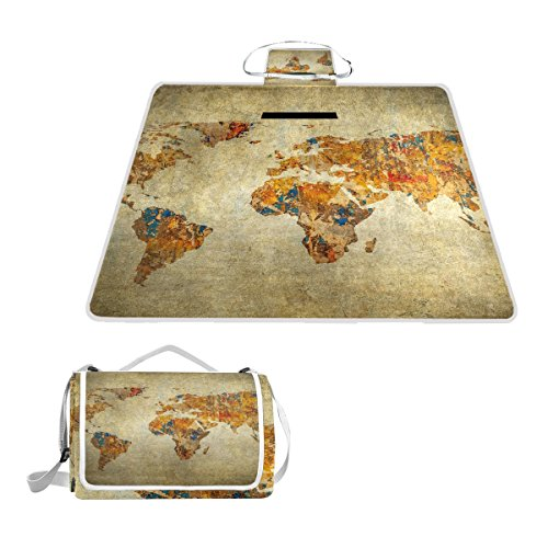 Naanle Ancient Vintage Retro World Map Waterproof Outdoor Picnic Blanket Sandyproof Camping Beach Handy Mat by Naanle