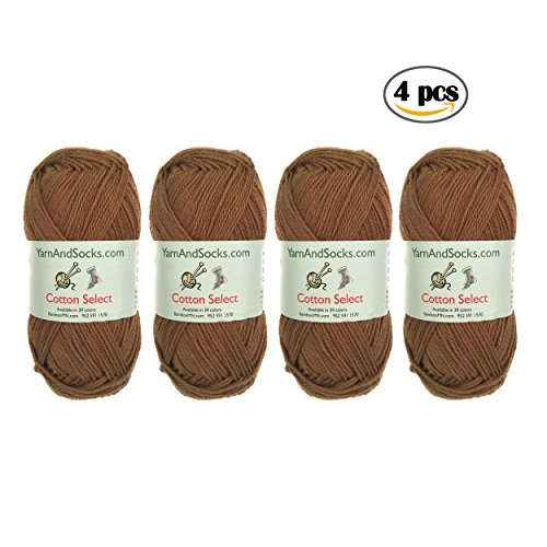 BambooMN Brand - Cotton Select Yarn - 4 Skeins - Col 210 - Chestnut (Cotton Yarn Lace)