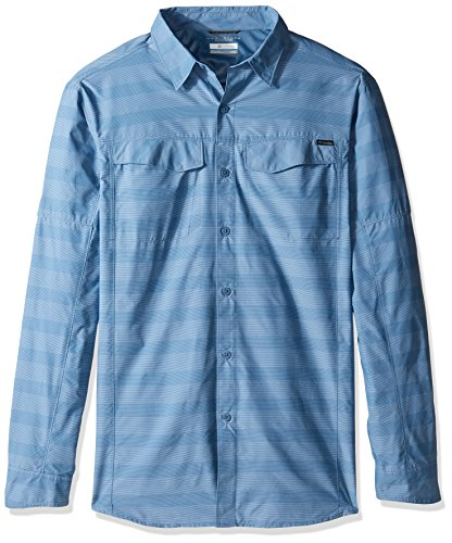 Columbia Men's Big-Tall Silver Ridge Plaid Long Sleeve Shirt, Steel Stripe, Large by Columbia