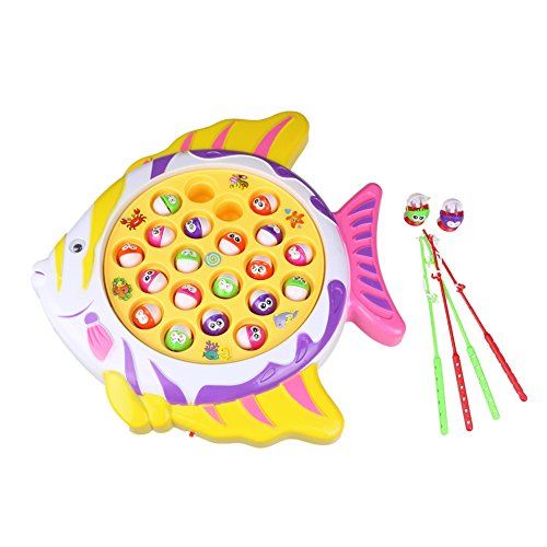HongCheng Electronic Funny Go Fishing Game Toy Board Set for Boys Girls Fish Shape Board with 21 Fishes 4 Fishing Rods and Music for Educational Learning, Color Vary