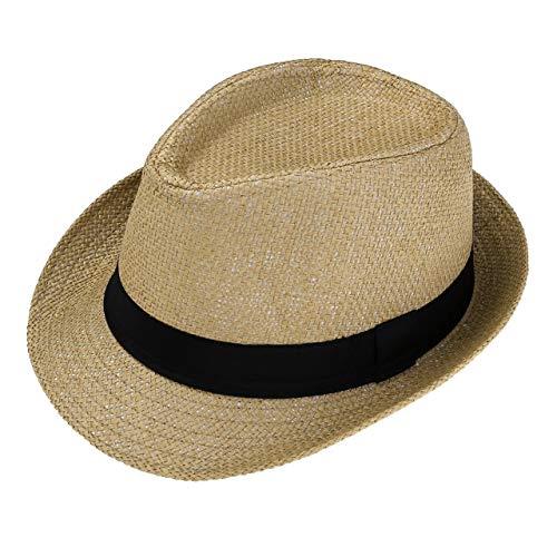 (FALETO Unisex Summer Panama Straw Fedora Hat Short Brim Beach Sun Cap Classic (#01 Khaki))