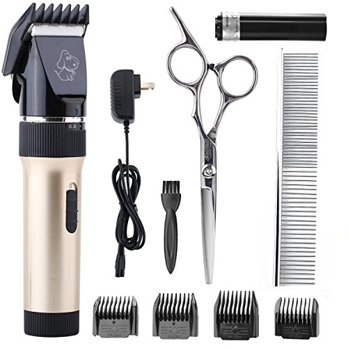 51HSX1CadcL - Haige Pet Dog Clippers,Rechargeable Cordless Grooming Electric Clipper Kit Set with Low Noise and Safety Blade Design for Cats and Dogs