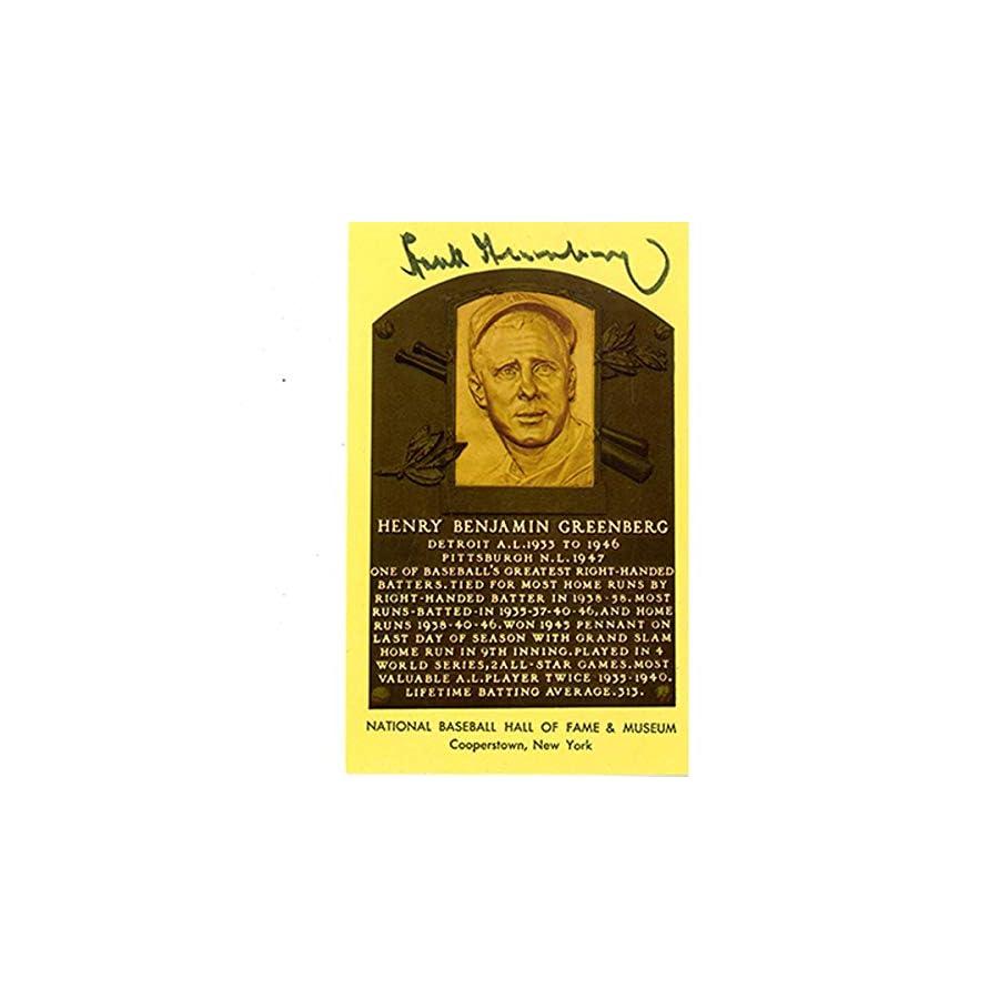 Hank Greenberg Autographed Signed Hof Plaque Postcard JSA