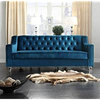 Iconic Home Dylan Modern Tufted Navy Blue Velvet Sofa with Silver Nail Head Trim & Round Acrylic Feet