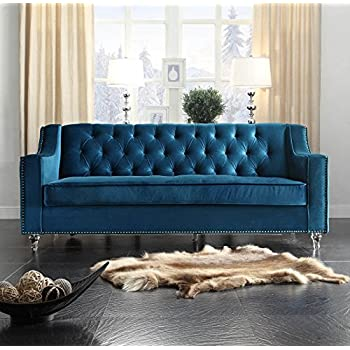 Iconic Home Dylan Modern Tufted Navy Blue Velvet Sofa With Silver Nail Head  Trim U0026 Round