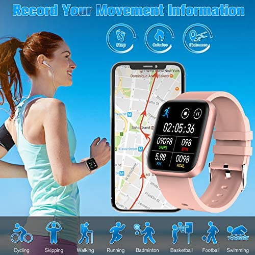 Peakfun Smart Watch,Fitness Watch Activity Tracker with Heart Rate Blood Pressure Monitor IP67 Waterproof Touch Screen Bluetooth Android Phone Smartwatch Sports Watch for Android iOS Phones Women Pink 6