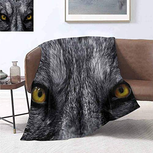 jecycleus Eye Luxury Special Grade Blanket Dangerous Mammal Eyes of Wild Wolf Aggressive Predator Carnivore Image Print Multi-Purpose use for Sofas etc. W60 by L70 Inch Black White Yellow