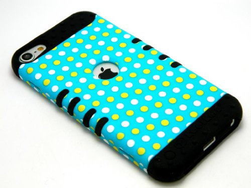 CellPhone Trendz Hybrid 2 in 1 Case Hard Cover Faceplate Skin Black Silicone and Yellow White Blue Light Polka Dots Snap Protector for Apple iPod iTouch 5 (5th Generation)