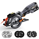 Circular Saw 4-3/4'', 5.8A, 10feet Core Length, Laser Guide, Max Cutting Depth 1-9/10'' (90°), 1-3/10'' (0°-45°), 6 Blades, Compact Handheld Design for Wood, Metal, Tile and Plastics Cuts-TCS115A