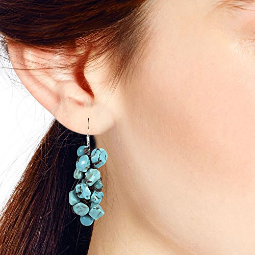Cluster Simulated Turquoise Drop Sterling Silver Dangle Earrings by AeraVida (Image #3)