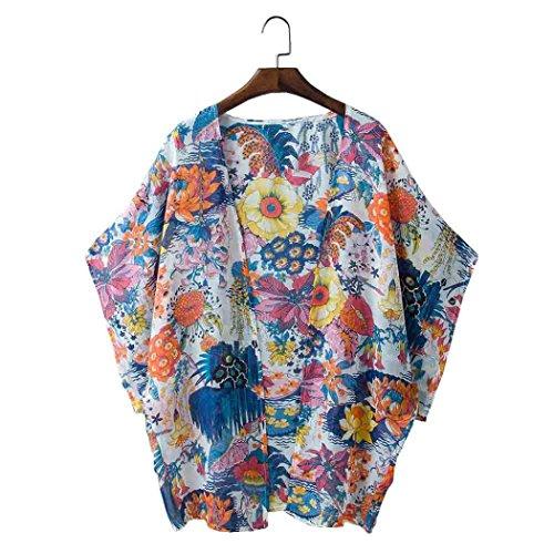 Cardigan Las Blusa Tapas Bohemia De Más Ocasionales Flojas Lmmvp Señoras Rebeca Mujeres Kimono Size❤️ Del Blanca Gasa Floral q7wffp