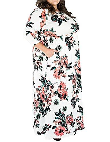 PARTY LADY Women's Boho Long Sleeve Floral Print Evening Plus Size Maxi Dress (XL-5XL) Size 3XL Plus White
