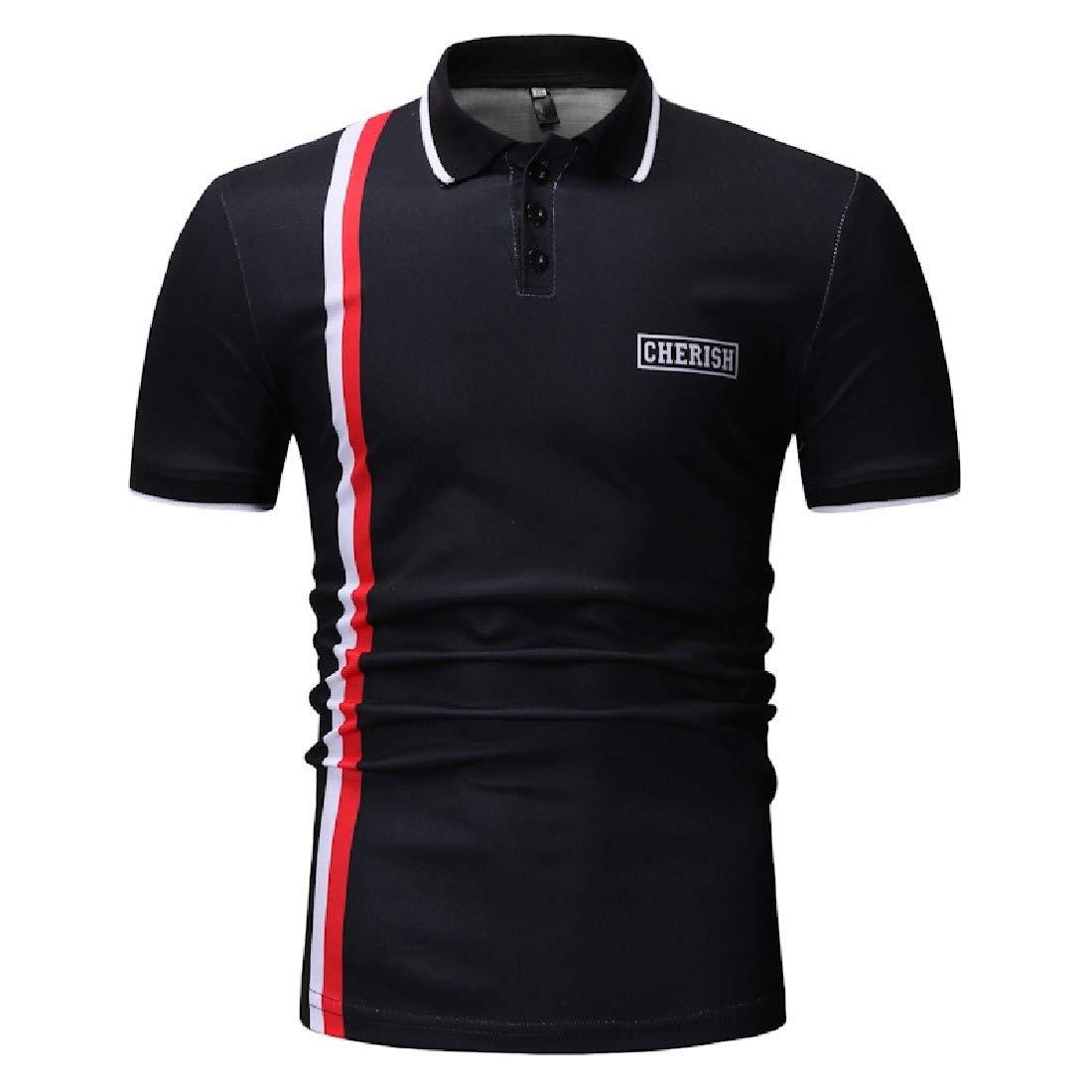VividYou Mens Summer Simple Comfy T-Shirts Loose Short Sleeve Polo Shirt