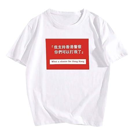 Maglietta Uomo Donna Manica Corta MINXINWY T Shirt Comoda A