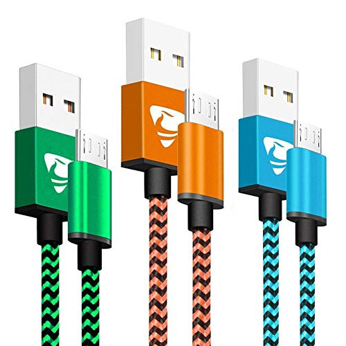 Micro USB Cable Aioneus Fast Charging Cord 3FT 3Pack Android Charger Cord Nylon Braided Charger Charging Cable Compatible with Samsung Galaxy S5/S6/S7, Sony, HTC, Nexus, LG, Motorola, Nokia, Tablet (Tablet Cord Samsung Galaxy 3)