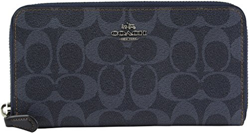 Coach Women's Denim Signature PVC Accordion Zip Around Wallet, Style F57665, Silver Denim by Coach