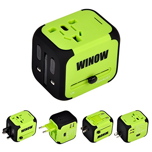 WINOW International Travel Plug Adapter, Worldwide Power AC Wall Charger with Dual USB & USA, UK, AU, EU – Great for…