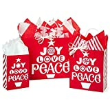 Peppermint Holiday Paper Shopping Bag Assortment - 125 Pack
