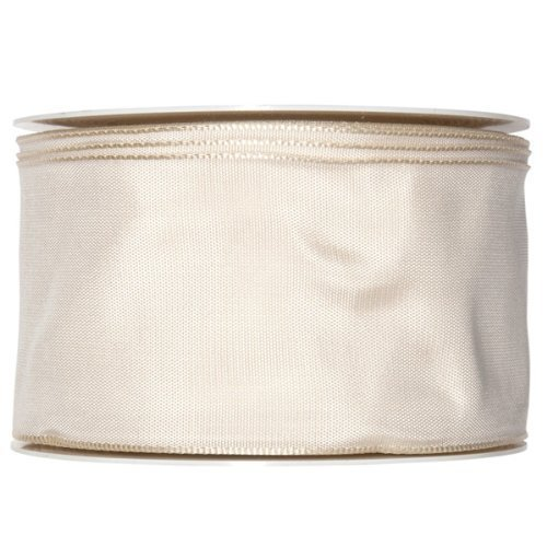 FloristryWarehouse Ivory cream fabric ribbon 2.5 inches wide x 27 yards roll taffeta satin