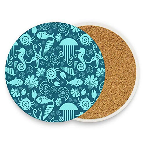 Sea Fauna Animals Coasters, Prevent Furniture From Dirty And Scratched, Round Wood Coasters Set Suitable For Kinds Of Mugs And Cups, Living Room Decorations Gift Set Of 2 ()